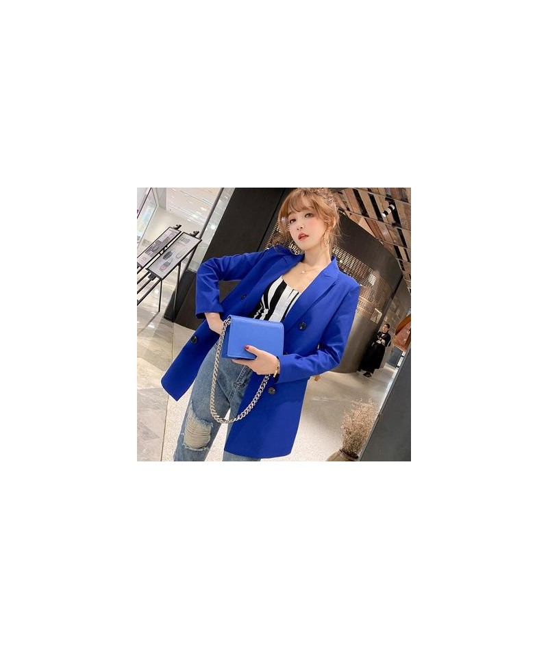 Women Casual Blazer Jacket New Fashion 2019 Spring Autumn Double Breasted Office Lady Long Blazers Coats Female Suit S011 - ...