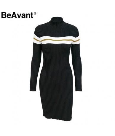 Striped knit women winter dress 2018 Bodycon long sleeve knitted dress female Casual black sweater dress autumn vestidos - B...