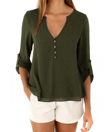 Chiffon Women Blouses Single Breasted Pullover V Neck Female Tops Plus Size Long Sleeve Blusas 11 Colors 8 Size Camisas HM12...