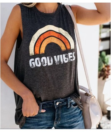 New 2019 Summer Sleeveless Tops Casual Tank Tops Women Good Vibes Print Gray O-Neck Vest Femme Loose Plus Size Tops Tee - Or...