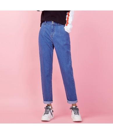 New Arrival Vintage women jeans Spring plus size fashion high waist light blue full length for women jeans 9005 - light blue...