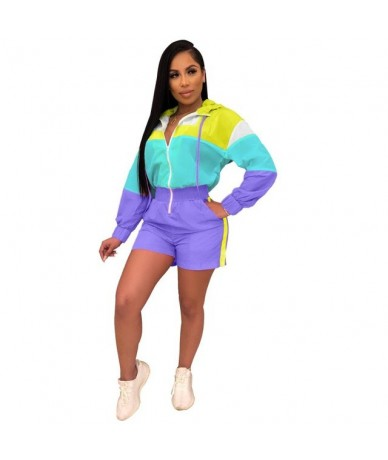 Womens Jumpsuit Patchwork Color Playsuit Turn Down Collar Long Sleeve With Zipper Loose Rompers Overalls For Women - Purple ...