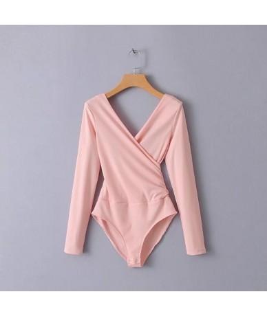 Long Sleeve Bodysuit Women Backless Jumpsuits Black White Body femme -85 - pink - 56111225757100-4