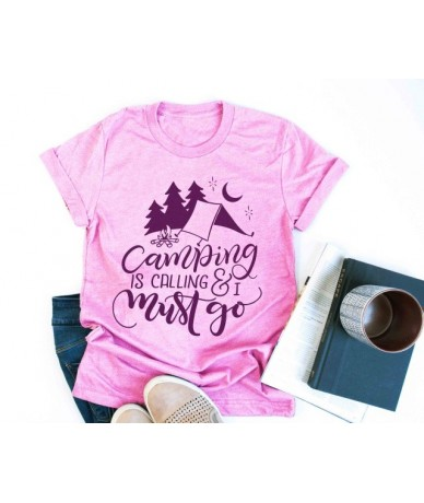Camping is calling and I must go t shirt funny graphic women fashion grunge tumblr cotton casual quote slogan vintage tees t...