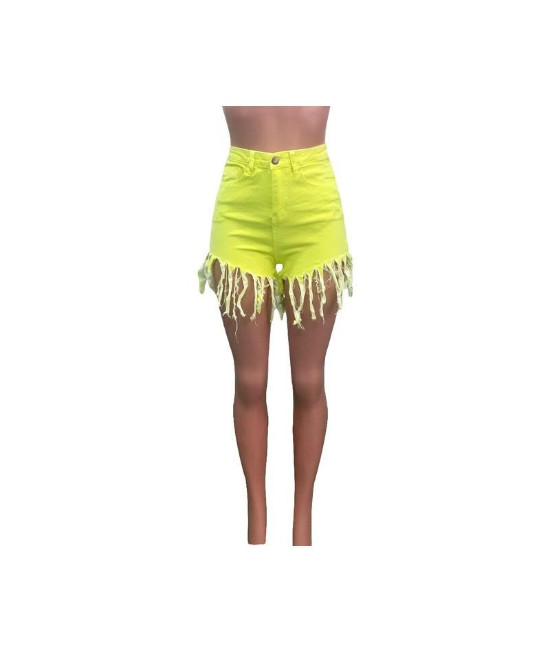 Camo Plus Size Tassel Denim Shorts Women Elastic High Waist Rave Short Jeans Summer Streetwear Neon Casual Biker Shorts - YE...