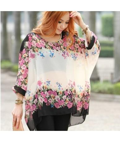 Blouse Shirt Women 2018 New Fashion Floral Print Summer Style Chiffon Blouses and Tops Women's Clothing Plus Size Shirts Blu...