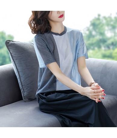 Shiny Lurex Knitted Fashion Summer T shirt Women Tshirt Female Vintage Cotton T-Shirt Women Tops Tee Shirt Femme 2019 - Blue...