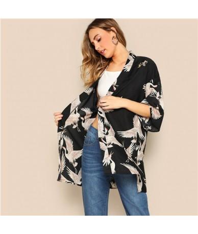Bohemian Black Crane Bird Print Side Slit Long Kimono Cardigan Women Summer 3/4 Length Sleeve Vacation Casual Kimonos - Blac...