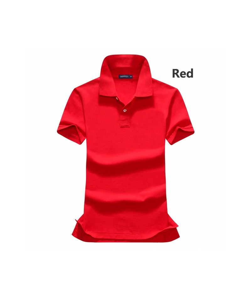 Ladies summer short sleeve lapel polos shirts 100% Cotton brand polos shirts Solid color lady short sleeve tops - Red - 4O39...