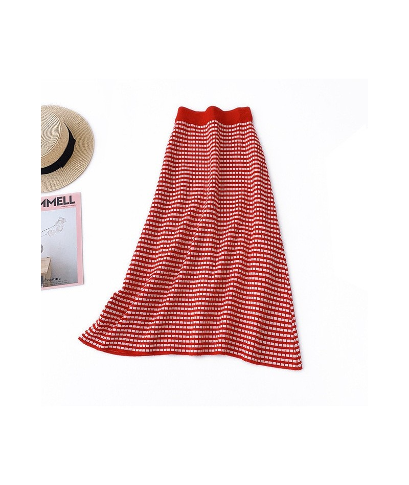 Black Red Yellow Women Skirts Fashion High Waist Mid-Calf Long Skirt Clothing Empire Vintage A Line Plaid Skirts - Red - 5M1...