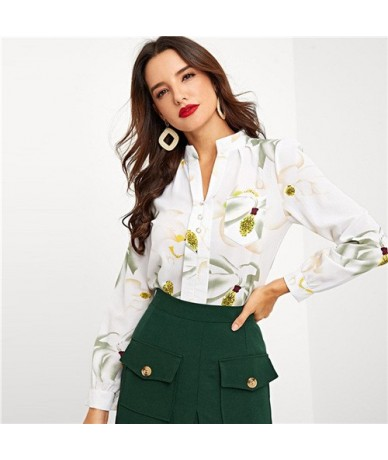 Beige Flower Print Blouse Women Long Sleeve Top Shirt Elegant Half Placket Ladies Shirts 2019 Womens Tops And Blouses - Beig...