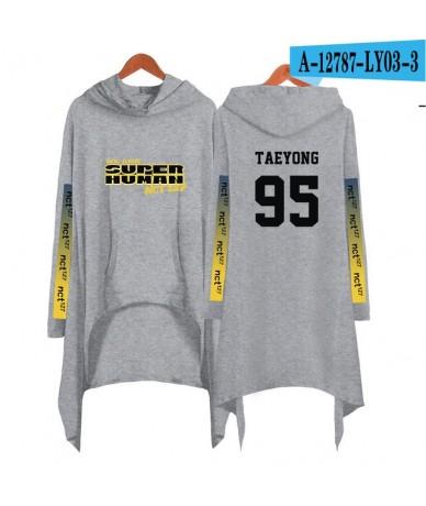 NCT 127 Printed Letter Long Hoodies Women Long Sleeve Irregular Hem Pocket Sweatshirt Female Plus Size Pullover Tops Kpop St...
