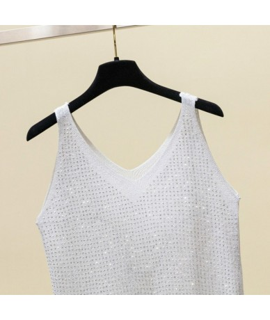 2019 Fashion Women Solid Color Wild Vest Sleeveless Sequin Tank Top Teenage Style Loose Fit Summer Ladies Casual Top Shirt -...