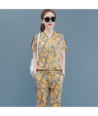 2019 Summer Two Piece Set Outfits Tracksuit Sportswear Co-ord Set Plus Size Big Wide Pant Suits and Zipped Top Print Clothin...