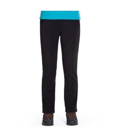 Fall and Winter Style Outdoor Women's Fleece Bottom Pocketed Warm Long Pants Trousers Warm fleece trousers - Black - 5A11115...