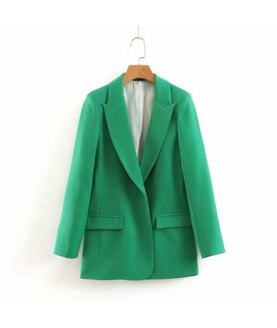 Women Chic Blazer Coat Office Lady Suit Jacket Blazer Female Solid Casual Double Breasted Long Sleeve Street Wear Autumn Coa...