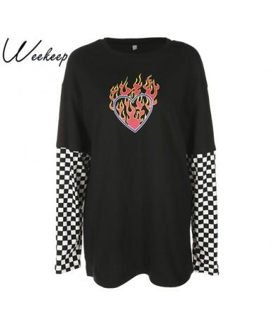 Women Plaid Patchwork Long Sleeve Flaming Heart Print Sweatshirt 2 Autumn Winter Black Checkboard Pullover Hoodies - XAM77 -...