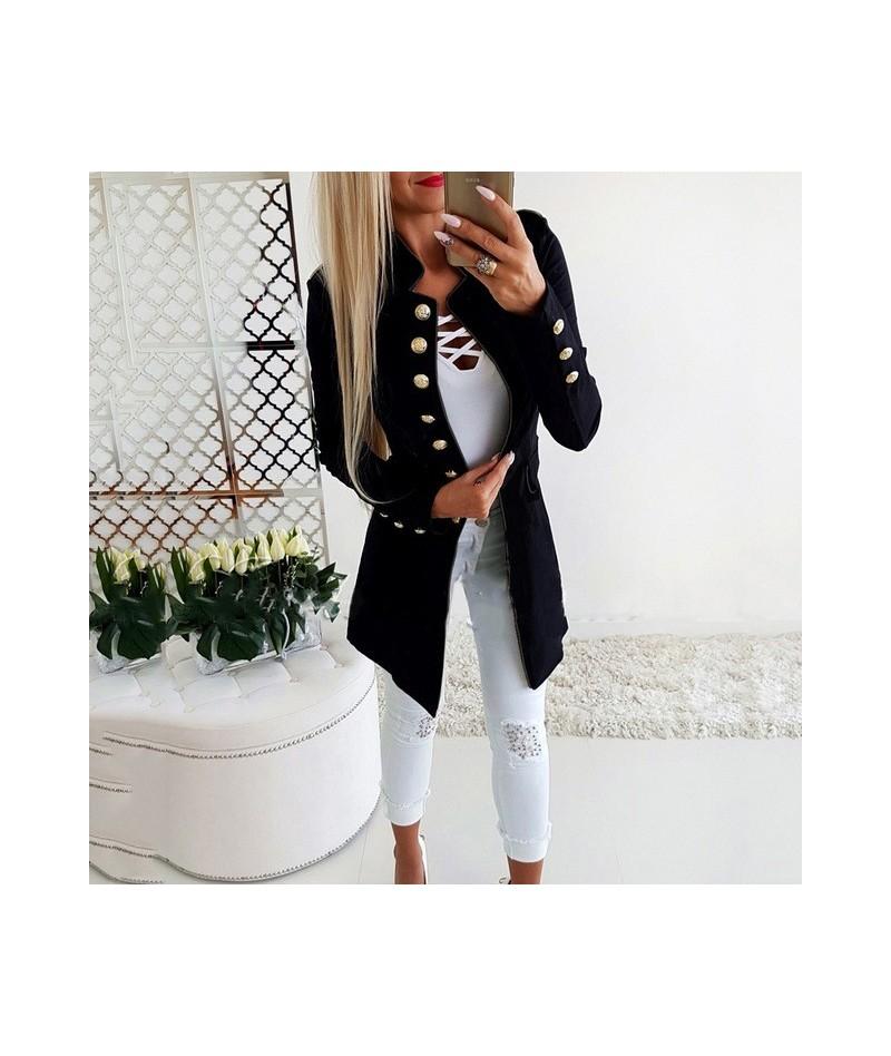 Women Jacket Blazers Slim Lady Office Wear Outwear Long Sleeve Stand Collar Formal Suit Long Black Red Autumn Thin Coat - Bl...