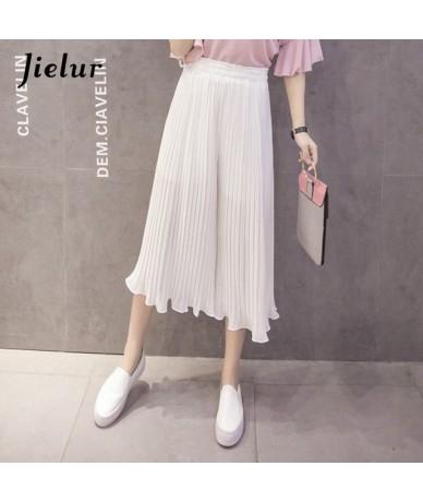 2019 New Fashion 8 Colors Ruffles Chiffon Pants Women Casual Pleated Pantalon femme S-XL Loose Pure Color Wide Leg Pants - W...