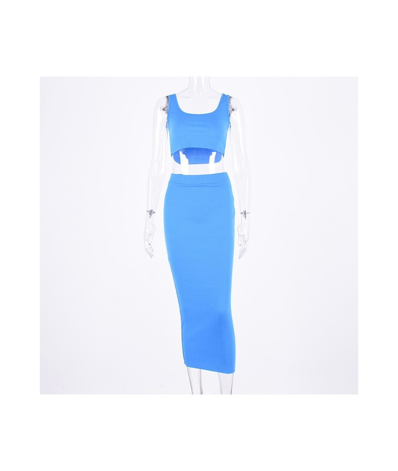 women ribbed knit two piece set long skirt crop tank top sexy elegant festival matching co ord clothes party 2019 summer out...
