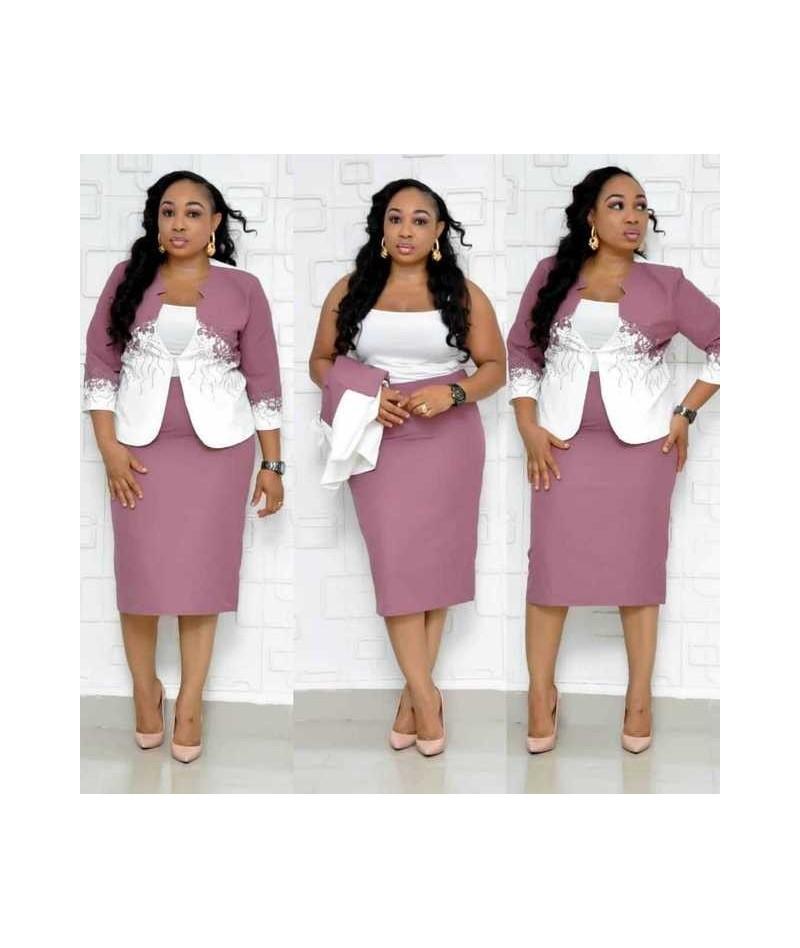 Two Piece Set Dress Suits Slim Bodycon Office Lady Formal Work Wear Lace Blazer Pencil Dress Plus Size Women African Clothin...