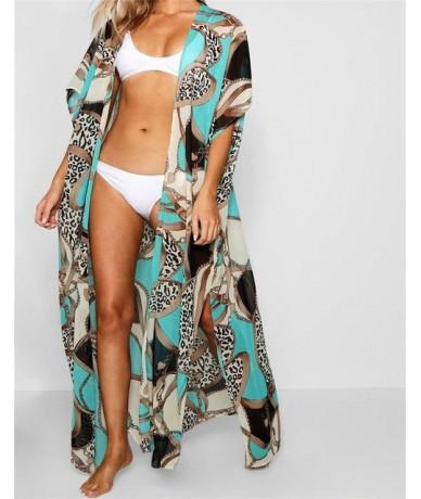 2019 Green Bohemian Multicolored Printed Plus Size Women Summer Beachwear Long Kimono Cardigan Beach Top Blouse Shirt pareo ...