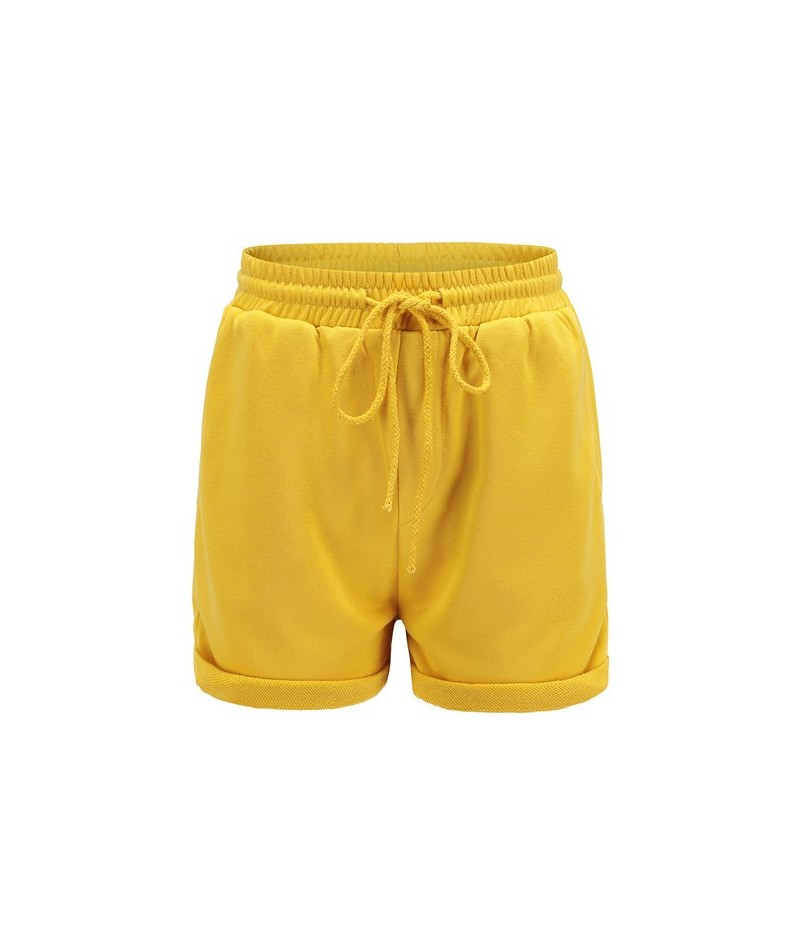 Summer new fashion stretch high waist women's shorts with solid color pockets women's shorts casual loose women's shorts - B...