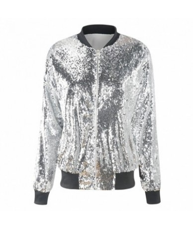 Fashion Women Sequins Coat Bomber Jacket Long Sleeve Zipper Streetwear Casual Tunic Glitter Outerwear Female 2019 Spring Coa...
