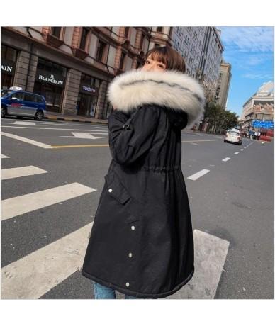 Winter Coat Women Large Fur Collar Hooded Long Jacket Thicken Warm Korean Padded women Parkas Jaqueta Feminina 262 - Black -...