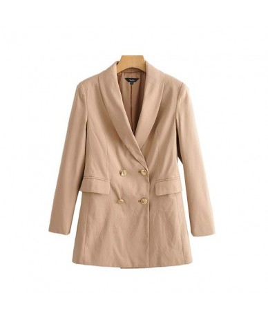 women basic solid blazer double breasted long sleeve pockets coat female office wear formal stylish tops CA556 - khaki - 5G1...