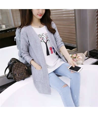 Women Cardigans 2018 New Cashmere Full Sleeve Long Cardigan Sweaters Fashion Open Stitch Solid Knitted Jackets Slim Tops Muj...