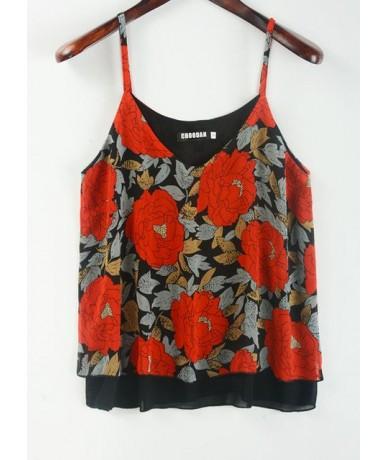 Tank Top Women Chiffon Blouses 2019 New Summer Sleeveless Shirt 2018 Floral Flower Cami Loose Female Top Vest Ladies Women S...