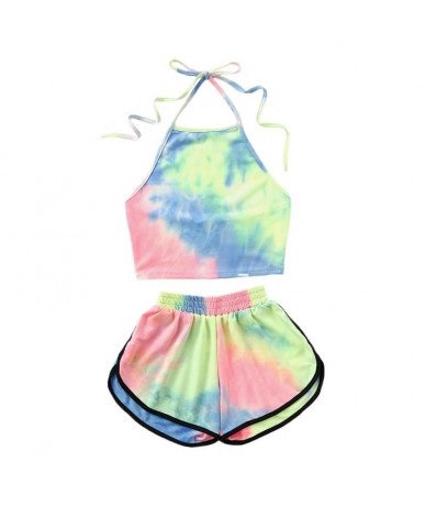New Summer Women Bikini 2 Pcs Set Halter Blooming Color Crop Top With Shorts sweet girl ladies Holiday Beach Wear suit - 443...