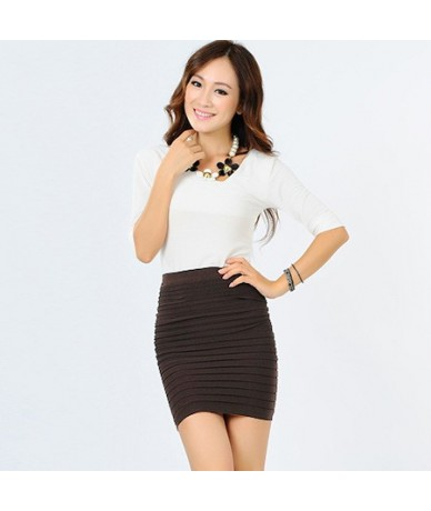Summer new half Fashion skirt candy color Elastic concise Bodycon Solid Color Pleated short skirt for Party Gift D3063 - Cof...