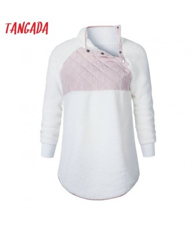 Women White Turtleneck Sweater Fluffy Fleece Ladies Jumper Plus Size Warm Autumn Winter Long Sleeve Pullover XXXL AON60 - 06...