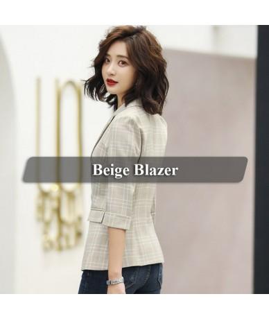 Plaid Jacket for Women Summer Wear Female Casual Style Breathable Coat Half Sleeve Blazer Breathable Tops Outwear - Beige - ...