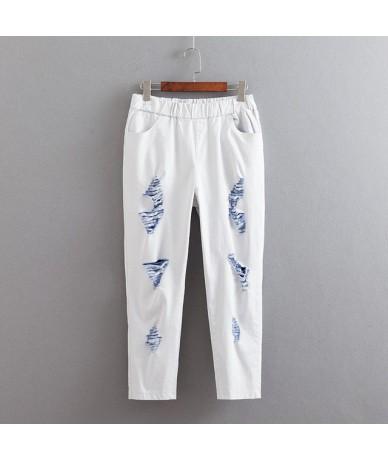 Colorful Hole Jeans Women Plus Size 3 4 5 6 XL Casual Stretched Pencil Pants Slim Denim Jeans Trousers KKFY3486 - Blue - 4O4...