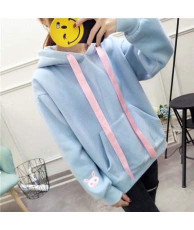 Rabbit Sweet Lovely Sweatshirt Women Loose Hoodie Thicken Autumn Tops Jacket Harajuku Hoody - Blue - 4D4161326481-3