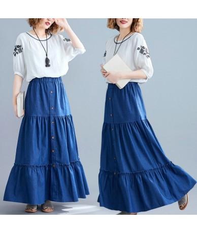 Summer Woman Long Skirt 2019 New Vintage Solid Blue Elastic High Waist Button A Line Maxi Skirt Loose Casual Skirts Womens -...