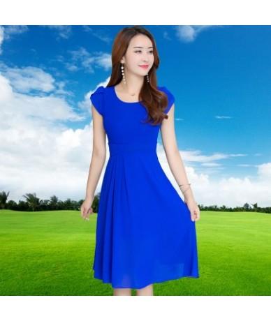 Women Chiffon Dress 2018 Spring summer round neck short sleeve Chiffon Dress Spring Femme Robe Feminino Vestidos - royal blu...