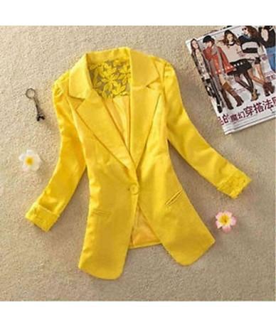 1PC Sexy Women Long Sleeve Lace Crochet Blazer Small Blazer Patchwork - yellow - 5Z111258447273-4