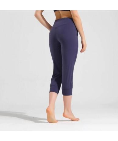 Women Capris 4 way Stretch Fabric Boot Cut Casual Leggings with Outside Pockets Wide Leg Leggings - Blue - 4O4134608187-2