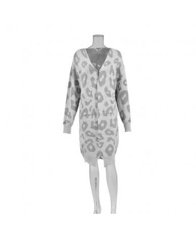 Sexy Leopard Print Long Cardigan Sweater Women Autumn Winter Knitwear Sweater Oversize Coat Female Outwear Jumper - Gray - 4...