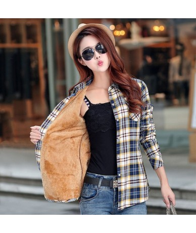 2018 Brand New Winter Warm Women Velvet Thicker Jacket Plaid Shirt Style Coat Female College Style Casual Jacket Outerwear -...