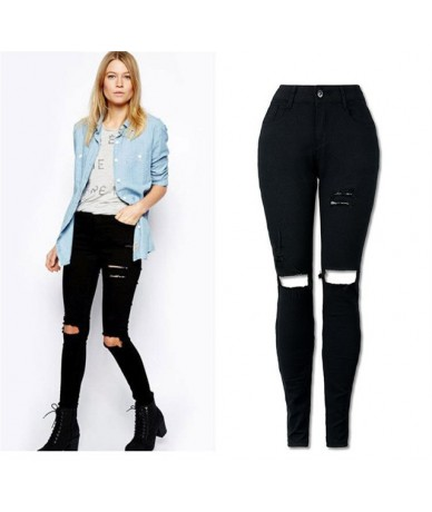New Black Sexy Jeans Pancil Pants Women High Waist Slim Hole Ripped Denim Jeans Casual Stretch Skinny Trousers Jeans - Black...