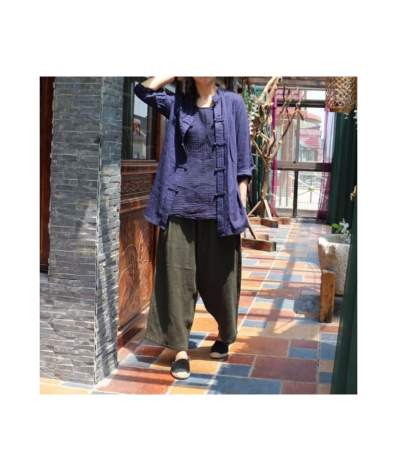 Women Loose Cotton Linen Jackets Retro Ladies Autumn Vintage Outwear Coat Female Solid Color Overcoat Spring Coat 2018 - Blu...