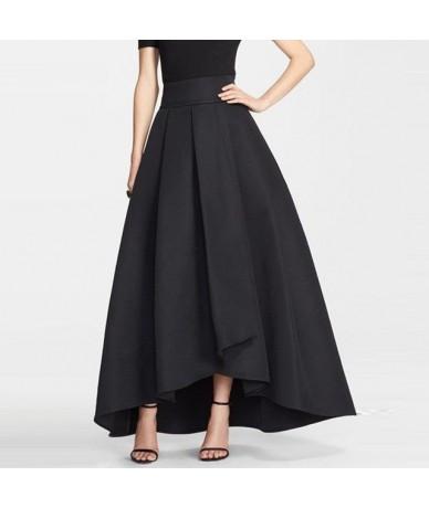 2016 England High Low Long Skirts For Women Navy Blue Old Green Black Long Skirt Women Clothing Pleat Maxi Skirt - Beige - 4...