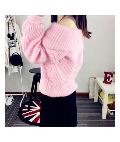 Sexy Slash Neck Thick Pullover Sweater Women 2019 Autumn Winter Soft Mohair Jumper Female Streetwear Pull Femme Hiver Tops -...