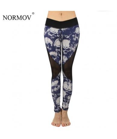 Summer Mesh Skull Leggings Women Push Up Workout Printed Legging Femme Casual Patchwork Leggings 2 Color S-XL - Blue - 43396...