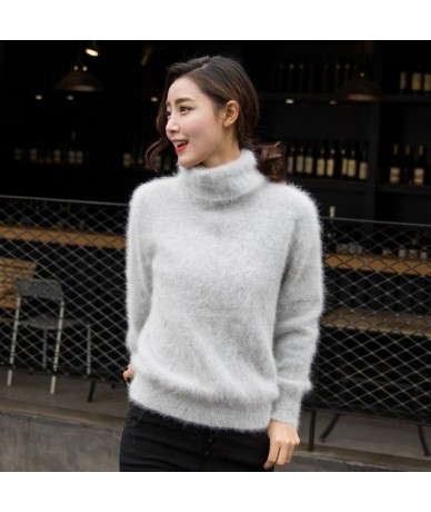 new Europe women 100% real mink cashmere sweater female turtleneck sweater loose thickened base JN245 - color 002 - 4C377478...